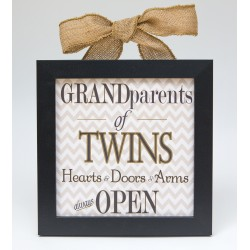 Grandparents of Twins: Hearts & Doors 8x8