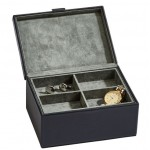 "Black Leather Box with Lift Out Tray 7"" x 5"""