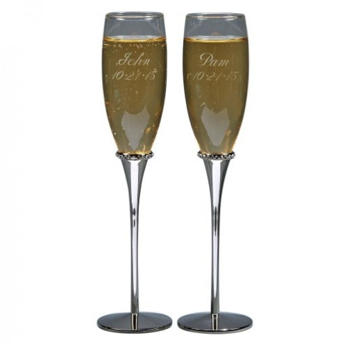 Glass Flutes with Crystals Around the Stems