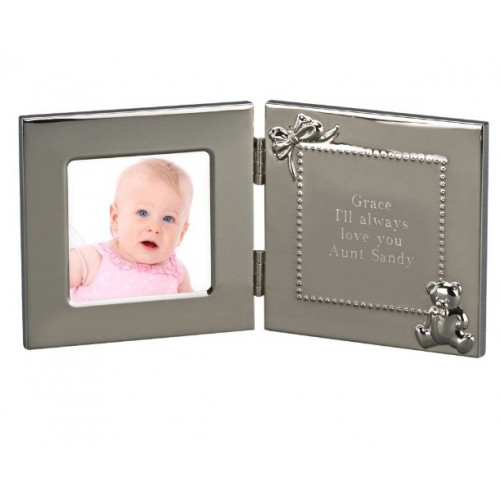 Hinged Baby Brightly Polished Frame & Engraving Message
