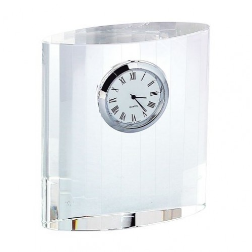"Optic Crystal Clock, 3.75"" Ht"