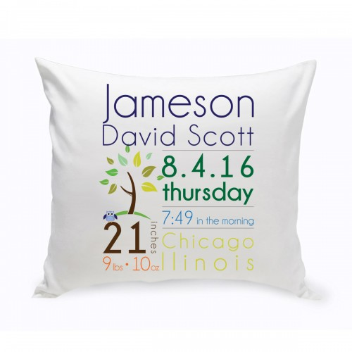 Baby Boy Announcement Throw Pillow