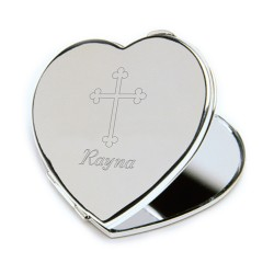 Inspirational Heart Compact Mirror with Engraved Cross