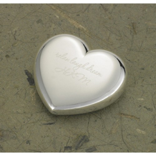 Personalized Light-Hearted Love Silver Plated Heart Paper Weight